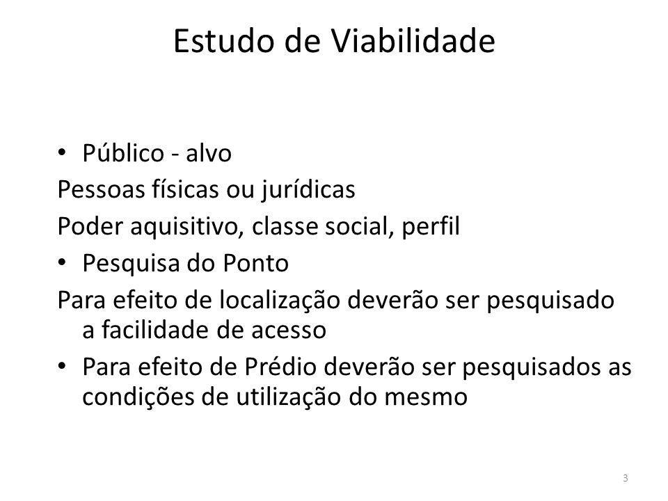 3 Estudo de Viabilidade Público - alvo Pessoas físicas ou jurídicas Poder aquisitivo, classe social, perfil Pesquisa do Ponto Para efeito de localizaç