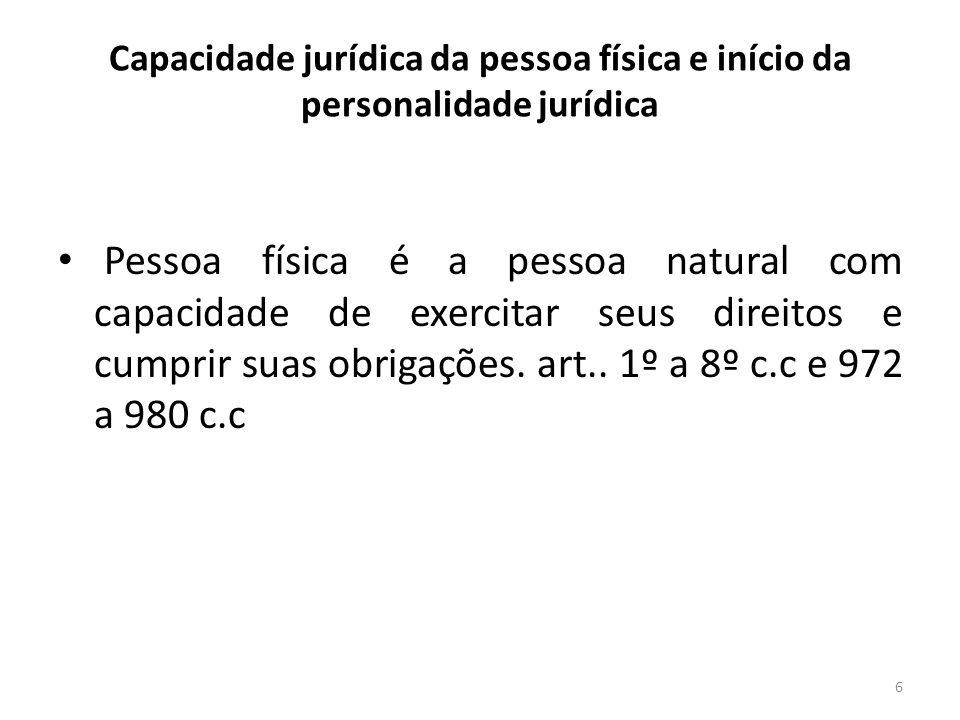 6 Capacidade jurídica da pessoa física e início da personalidade jurídica Pessoa física é a pessoa natural com capacidade de exercitar seus direitos e