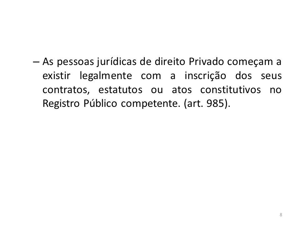 9 PESSOAS JURÍDICAS – As pessoas jurídicas de direito Privado começam a existir legalmente com a inscrição dos seus contratos, estatutos ou atos constitutivos no Registro Público competente.