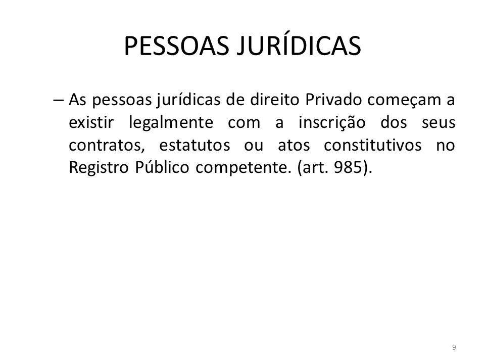 9 PESSOAS JURÍDICAS – As pessoas jurídicas de direito Privado começam a existir legalmente com a inscrição dos seus contratos, estatutos ou atos const