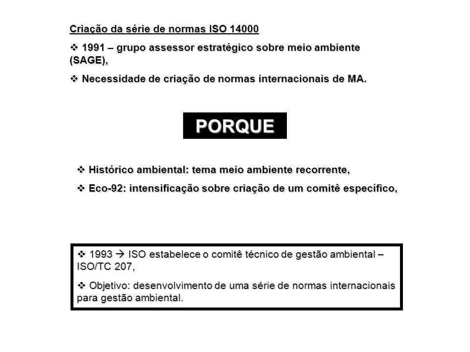 Criação da série de normas ISO 14000 1991 – grupo assessor estratégico sobre meio ambiente (SAGE), 1991 – grupo assessor estratégico sobre meio ambien