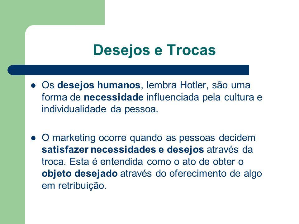 Desejos e Trocas Os desejos humanos, lembra Hotler, são uma forma de necessidade influenciada pela cultura e individualidade da pessoa. O marketing oc