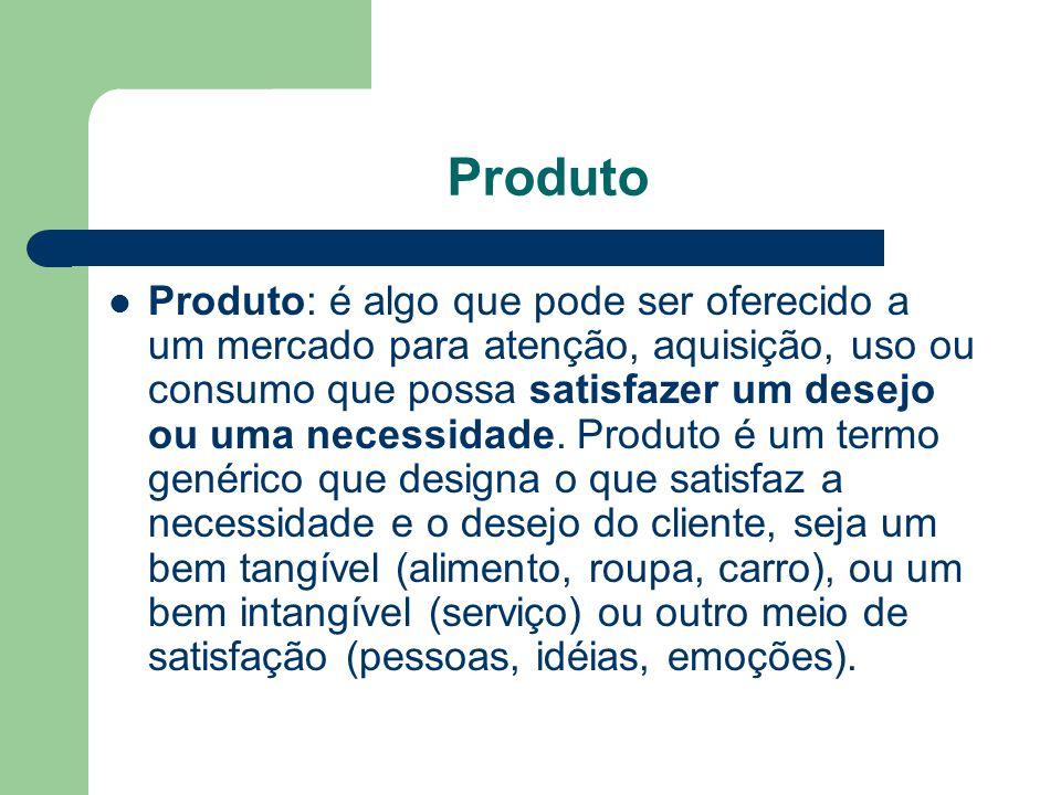 Produto Produto: é algo que pode ser oferecido a um mercado para atenção, aquisição, uso ou consumo que possa satisfazer um desejo ou uma necessidade.