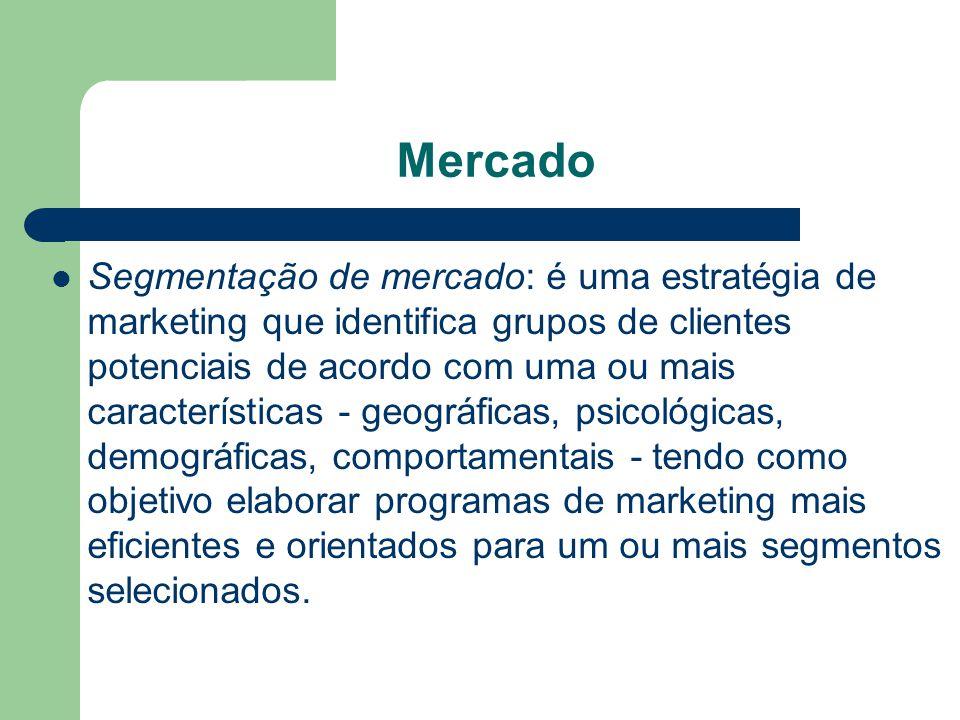 Mercado Segmentação de mercado: é uma estratégia de marketing que identifica grupos de clientes potenciais de acordo com uma ou mais características -