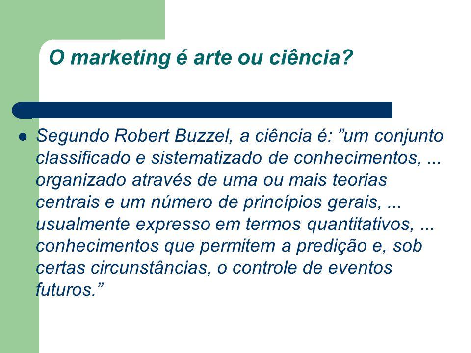 O marketing é arte ou ciência? Segundo Robert Buzzel, a ciência é: um conjunto classificado e sistematizado de conhecimentos,... organizado através de