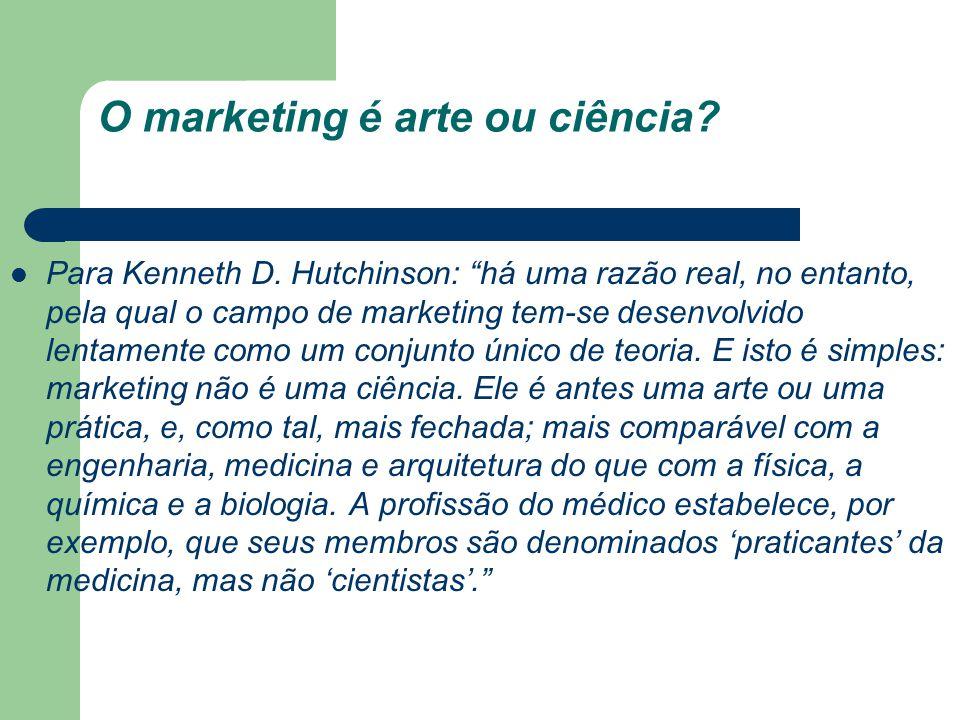 O marketing é arte ou ciência? Para Kenneth D. Hutchinson: há uma razão real, no entanto, pela qual o campo de marketing tem-se desenvolvido lentament