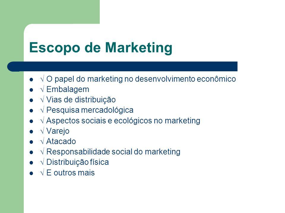 Escopo de Marketing O papel do marketing no desenvolvimento econômico Embalagem Vias de distribuição Pesquisa mercadológica Aspectos sociais e ecológi