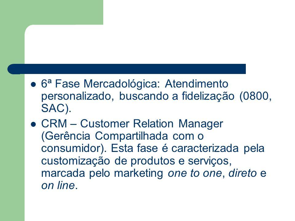 6ª Fase Mercadológica: Atendimento personalizado, buscando a fidelização (0800, SAC). CRM – Customer Relation Manager (Gerência Compartilhada com o co