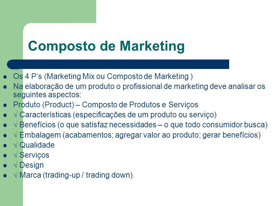 Composto de Marketing Os 4 Ps (Marketing Mix ou Composto de Marketing ) Na elaboração de um produto o profissional de marketing deve analisar os segui