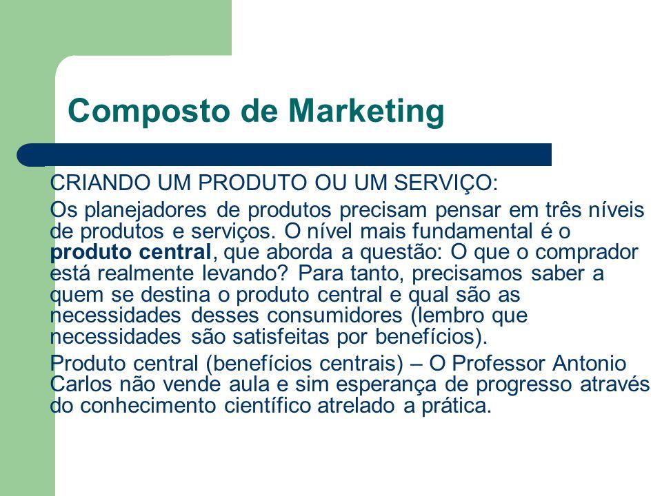 Composto de Marketing CRIANDO UM PRODUTO OU UM SERVIÇO: Os planejadores de produtos precisam pensar em três níveis de produtos e serviços. O nível mai