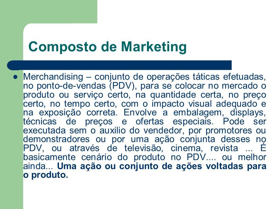 Composto de Marketing Merchandising – conjunto de operações táticas efetuadas, no ponto-de-vendas (PDV), para se colocar no mercado o produto ou servi