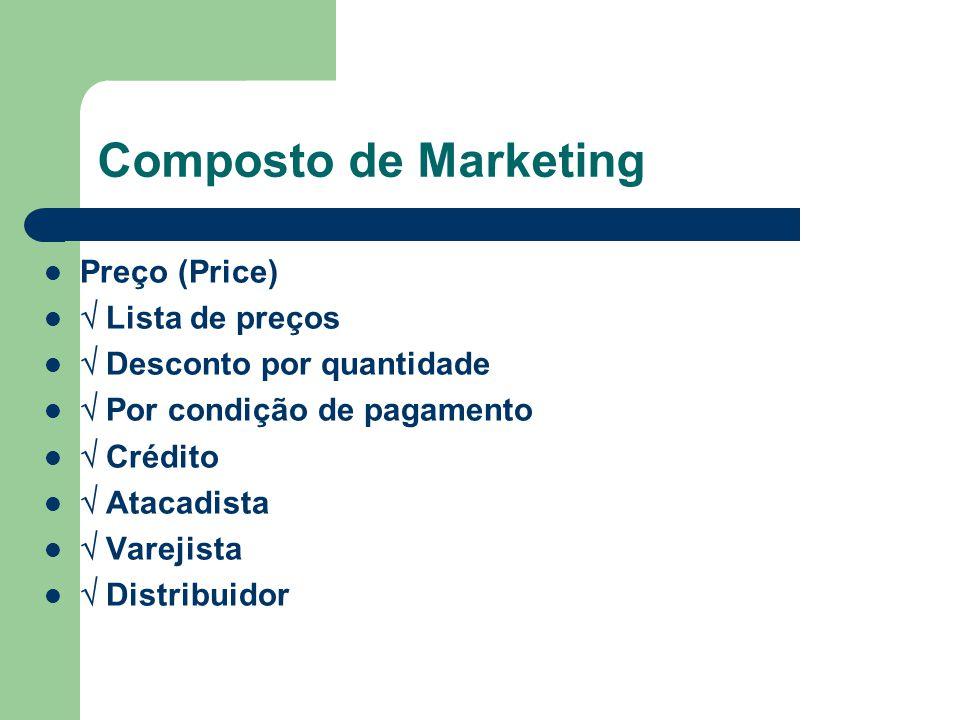 Composto de Marketing Preço (Price) Lista de preços Desconto por quantidade Por condição de pagamento Crédito Atacadista Varejista Distribuidor