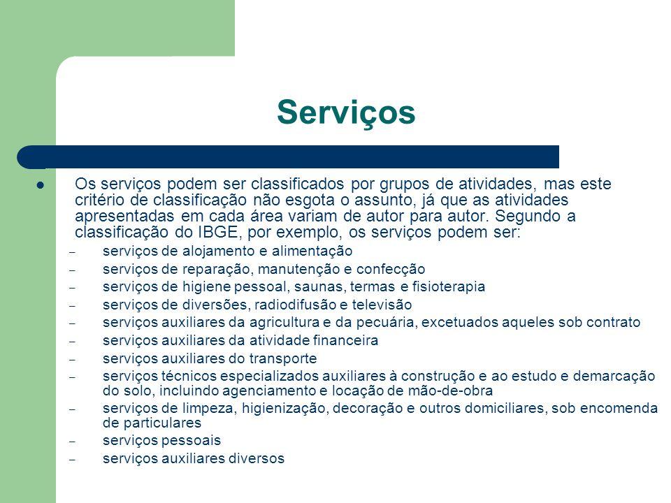 Serviços Os serviços podem ser classificados por grupos de atividades, mas este critério de classificação não esgota o assunto, já que as atividades a
