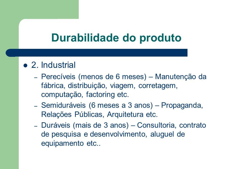 Durabilidade do produto 2. Industrial – Perecíveis (menos de 6 meses) – Manutenção da fábrica, distribuição, viagem, corretagem, computação, factoring