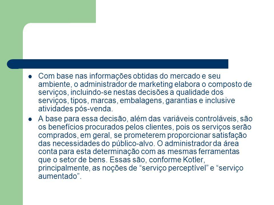 Com base nas informações obtidas do mercado e seu ambiente, o administrador de marketing elabora o composto de serviços, incluindo-se nestas decisões