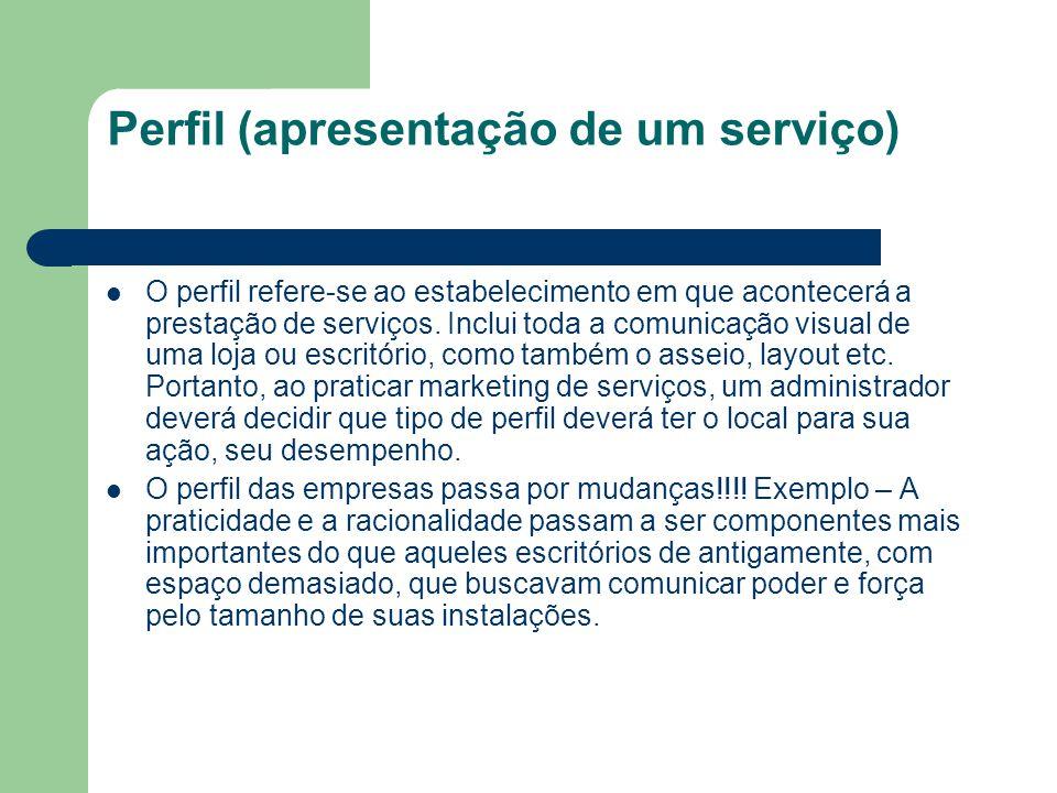 Perfil (apresentação de um serviço) O perfil refere-se ao estabelecimento em que acontecerá a prestação de serviços. Inclui toda a comunicação visual