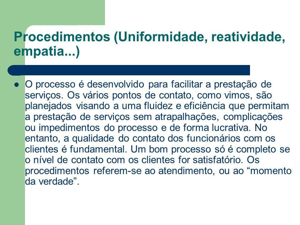 Procedimentos (Uniformidade, reatividade, empatia...) O processo é desenvolvido para facilitar a prestação de serviços. Os vários pontos de contato, c