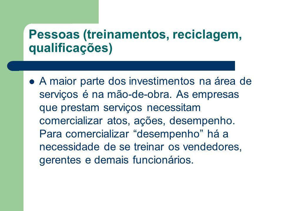 Pessoas (treinamentos, reciclagem, qualificações) A maior parte dos investimentos na área de serviços é na mão-de-obra. As empresas que prestam serviç