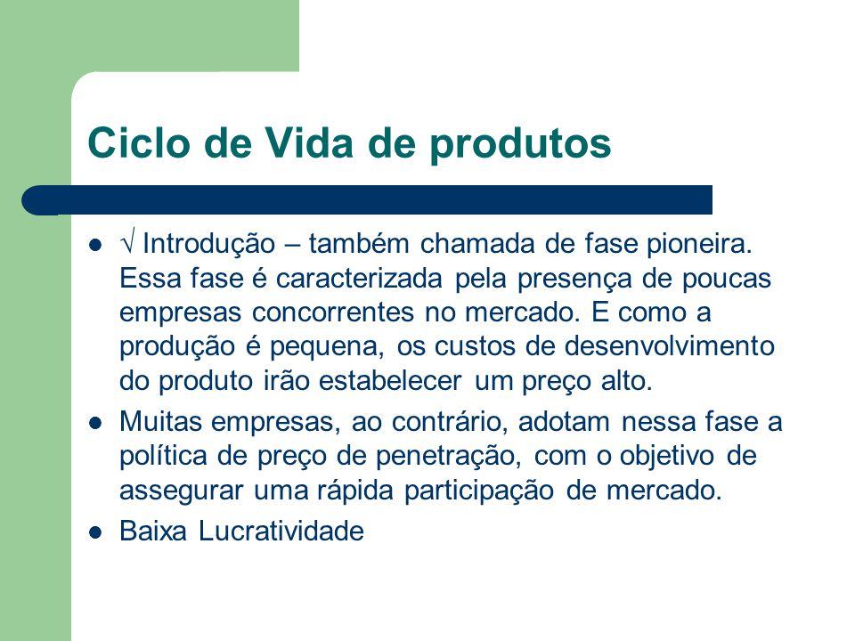 Ciclo de Vida de produtos Introdução – também chamada de fase pioneira. Essa fase é caracterizada pela presença de poucas empresas concorrentes no mer