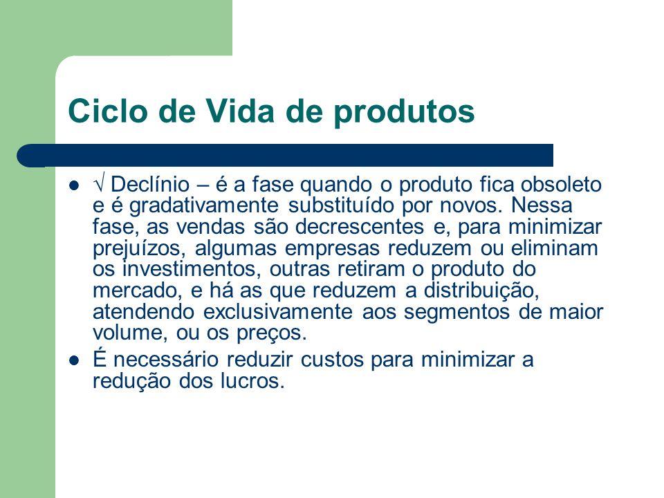 Ciclo de Vida de produtos Declínio – é a fase quando o produto fica obsoleto e é gradativamente substituído por novos. Nessa fase, as vendas são decre