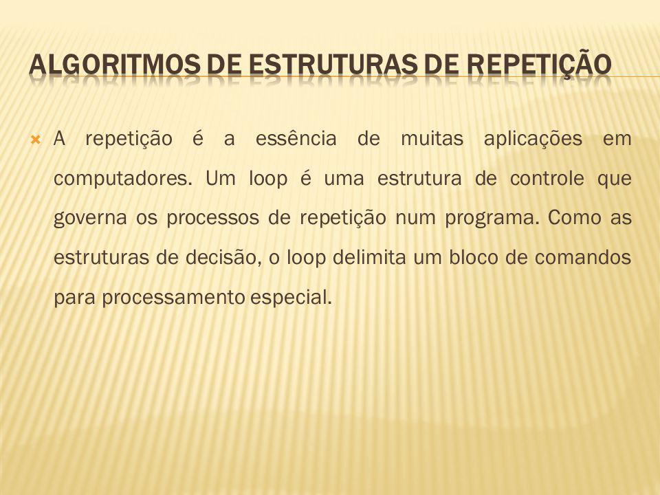 Três estruturas de repetição diferentes, cada qual com um esquema diferente para o controle do processo de iteração (repetição): O loop PARA que especifica a priori o número de iterações; O loop ENQUANTO que expressa uma condição sobre a qual o loop continua.