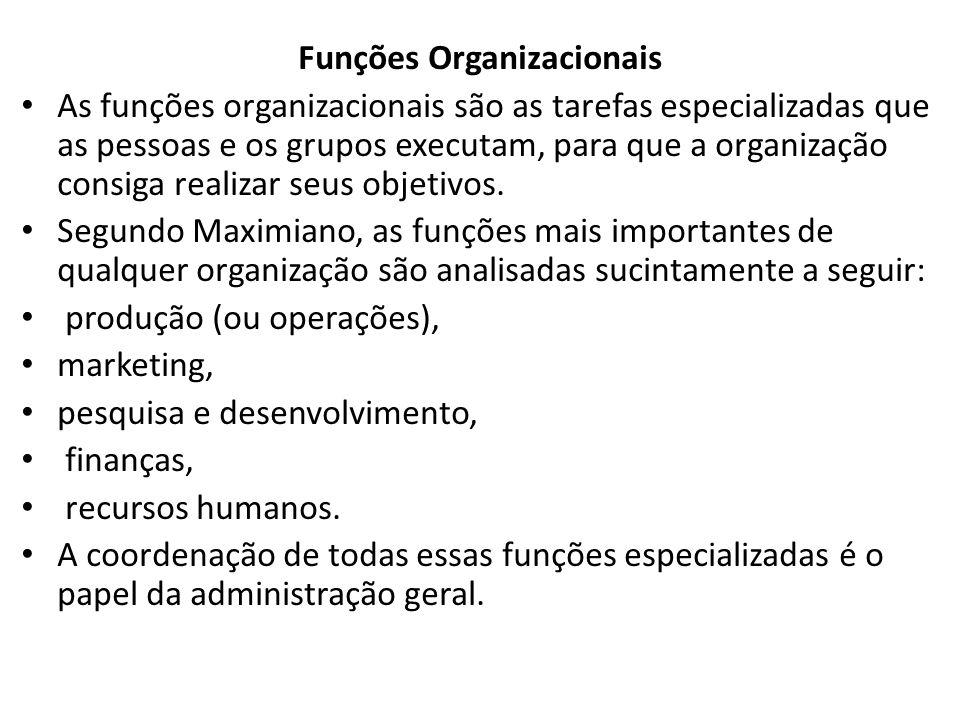 Funções Organizacionais As funções organizacionais são as tarefas especializadas que as pessoas e os grupos executam, para que a organização consiga realizar seus objetivos.