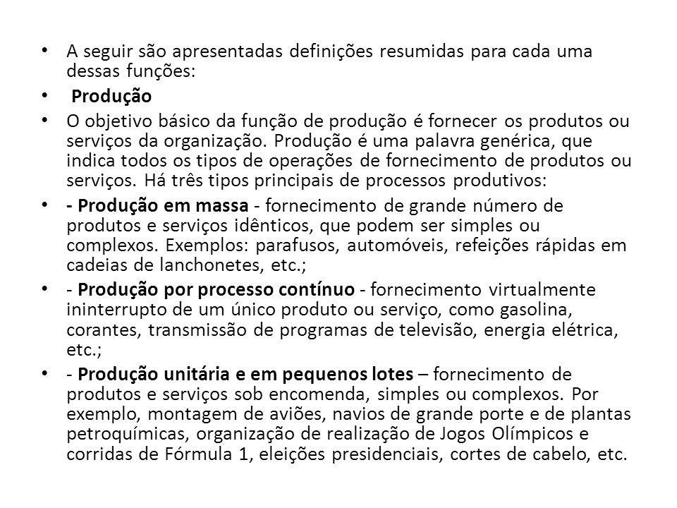 A seguir são apresentadas definições resumidas para cada uma dessas funções: Produção O objetivo básico da função de produção é fornecer os produtos ou serviços da organização.