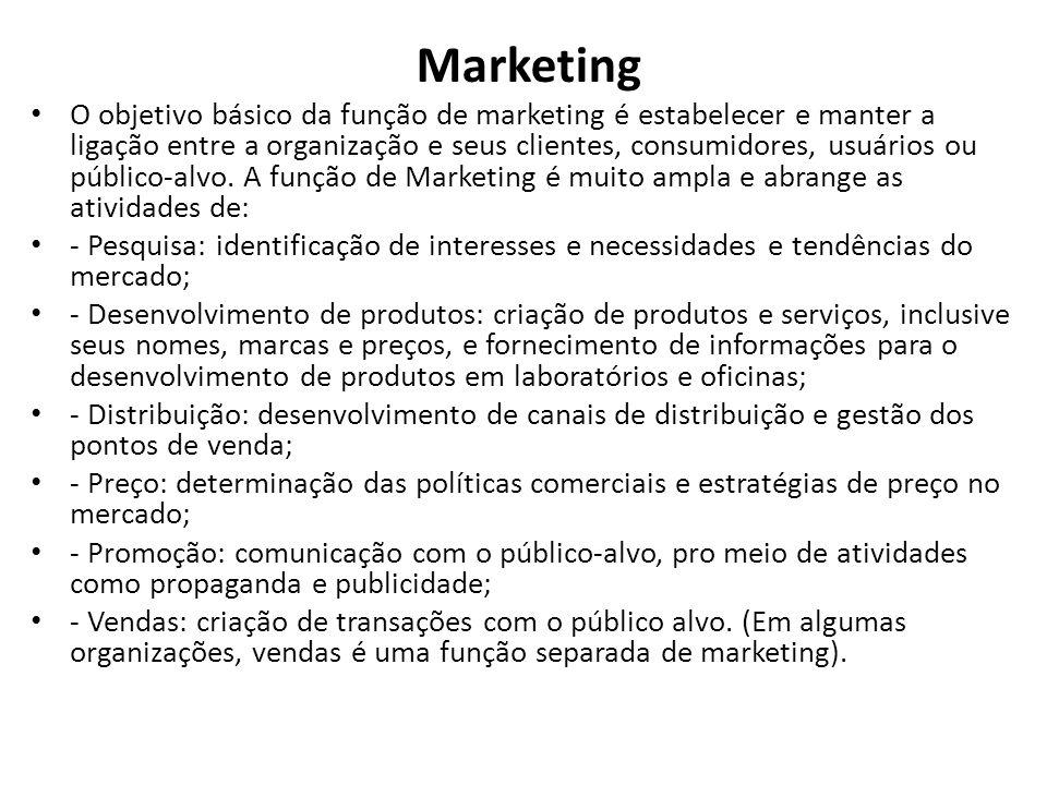 Marketing O objetivo básico da função de marketing é estabelecer e manter a ligação entre a organização e seus clientes, consumidores, usuários ou público-alvo.