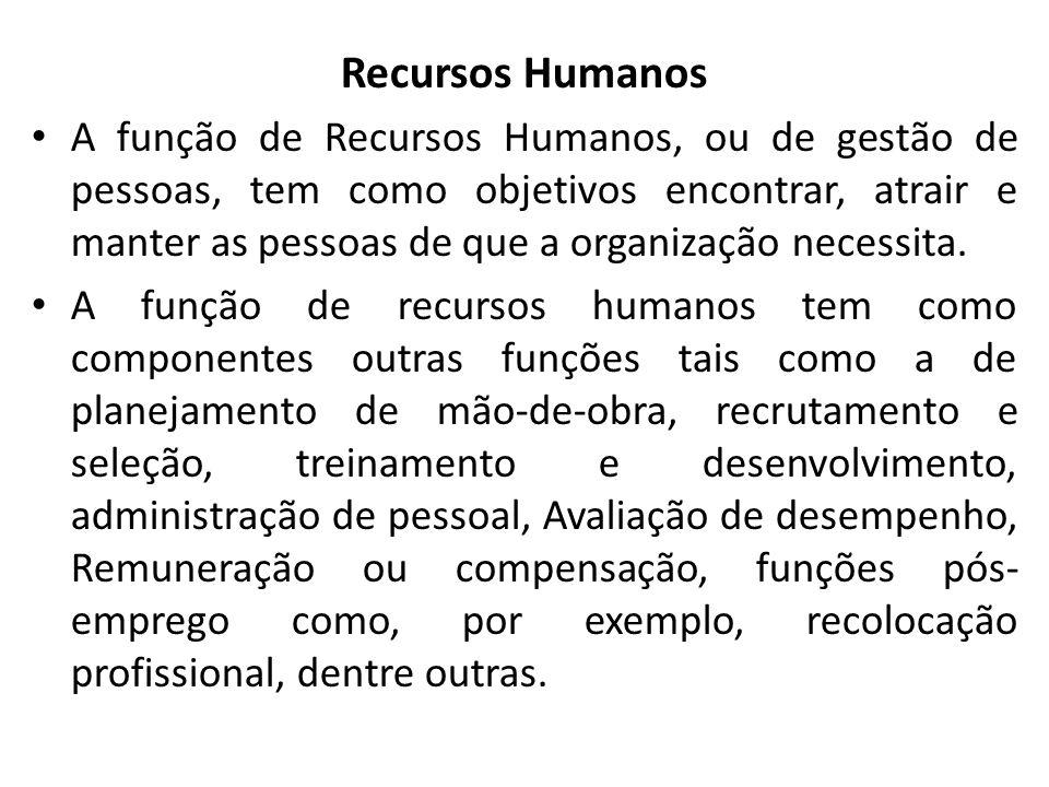 Recursos Humanos A função de Recursos Humanos, ou de gestão de pessoas, tem como objetivos encontrar, atrair e manter as pessoas de que a organização necessita.