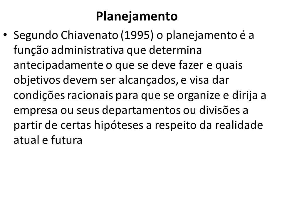 Planejamento Segundo Chiavenato (1995) o planejamento é a função administrativa que determina antecipadamente o que se deve fazer e quais objetivos devem ser alcançados, e visa dar condições racionais para que se organize e dirija a empresa ou seus departamentos ou divisões a partir de certas hipóteses a respeito da realidade atual e futura