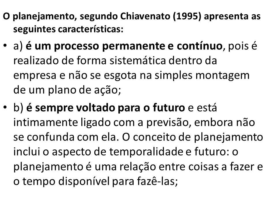 O planejamento, segundo Chiavenato (1995) apresenta as seguintes características: a) é um processo permanente e contínuo, pois é realizado de forma sistemática dentro da empresa e não se esgota na simples montagem de um plano de ação; b) é sempre voltado para o futuro e está intimamente ligado com a previsão, embora não se confunda com ela.