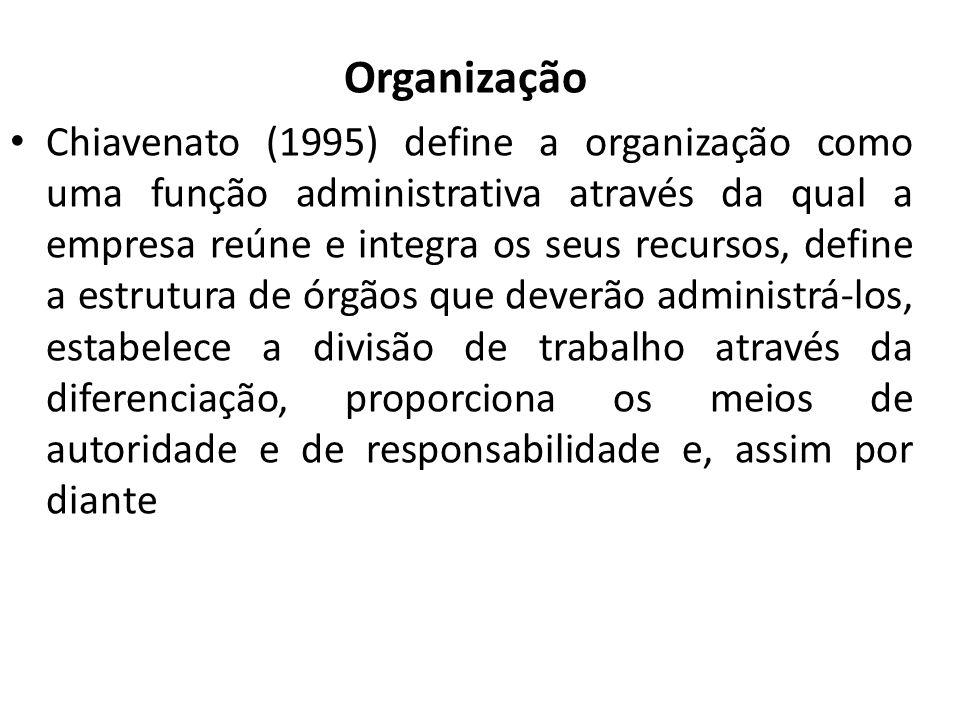 Organização Chiavenato (1995) define a organização como uma função administrativa através da qual a empresa reúne e integra os seus recursos, define a estrutura de órgãos que deverão administrá-los, estabelece a divisão de trabalho através da diferenciação, proporciona os meios de autoridade e de responsabilidade e, assim por diante
