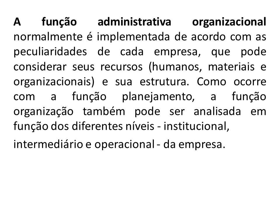A função administrativa organizacional normalmente é implementada de acordo com as peculiaridades de cada empresa, que pode considerar seus recursos (humanos, materiais e organizacionais) e sua estrutura.