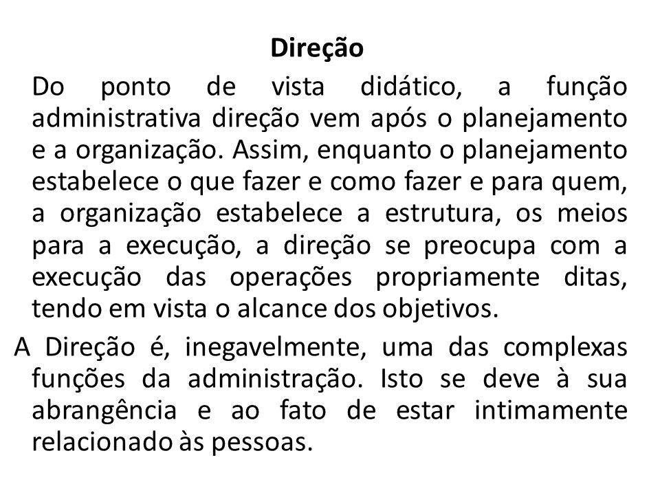 Direção Do ponto de vista didático, a função administrativa direção vem após o planejamento e a organização.