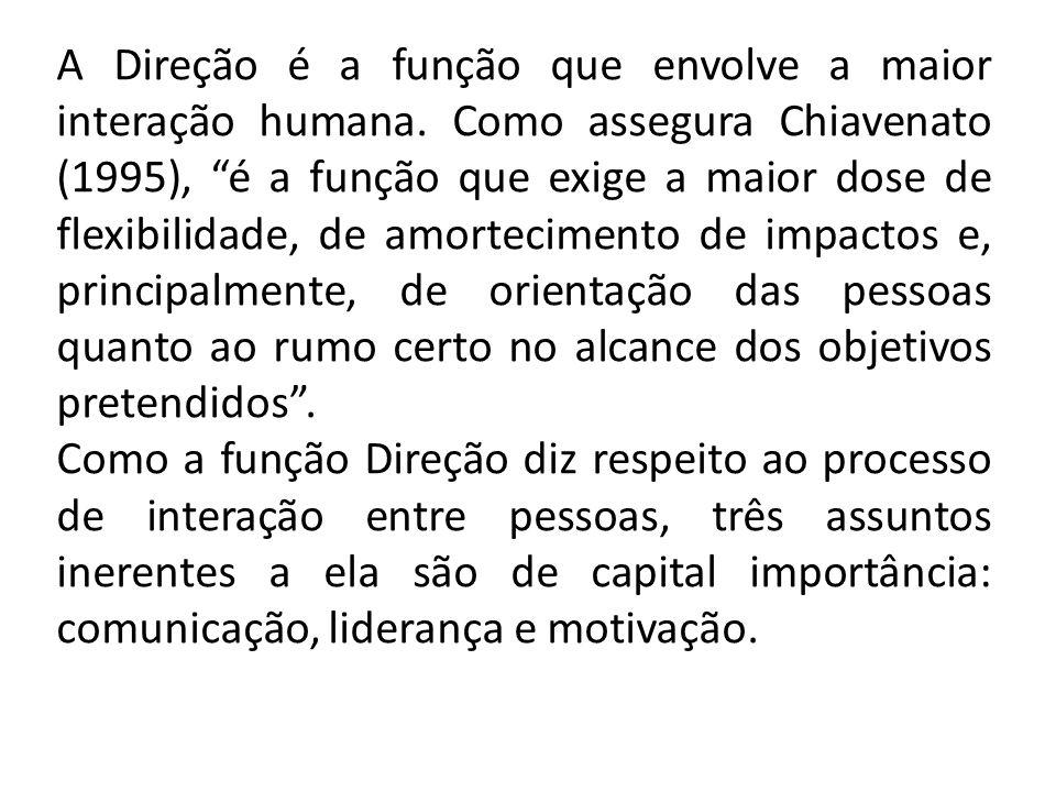 A Direção é a função que envolve a maior interação humana.