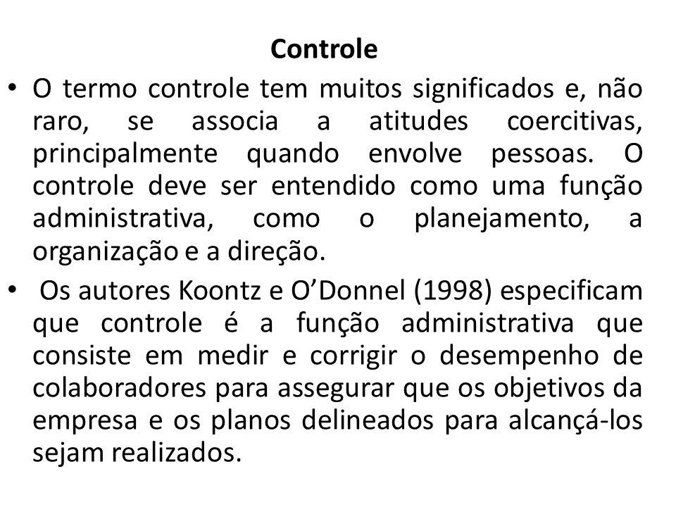 Controle O termo controle tem muitos significados e, não raro, se associa a atitudes coercitivas, principalmente quando envolve pessoas.