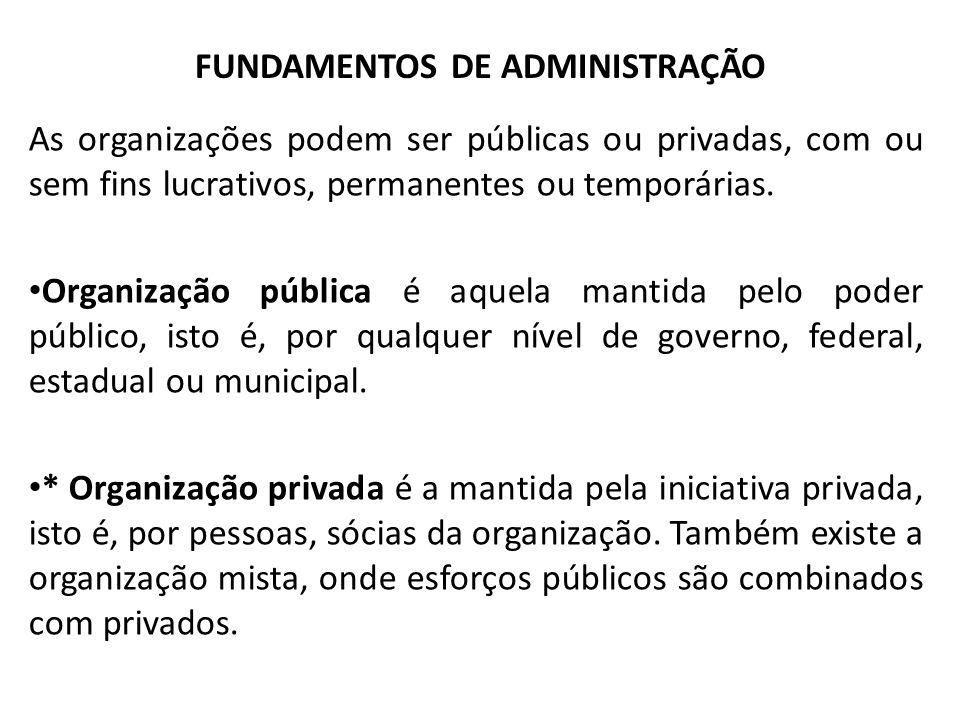 FUNDAMENTOS DE ADMINISTRAÇÃO As organizações podem ser públicas ou privadas, com ou sem fins lucrativos, permanentes ou temporárias.