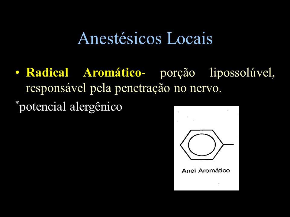 Anestésicos Locais Radical Aromático- porção lipossolúvel, responsável pela penetração no nervo. * potencial alergênico