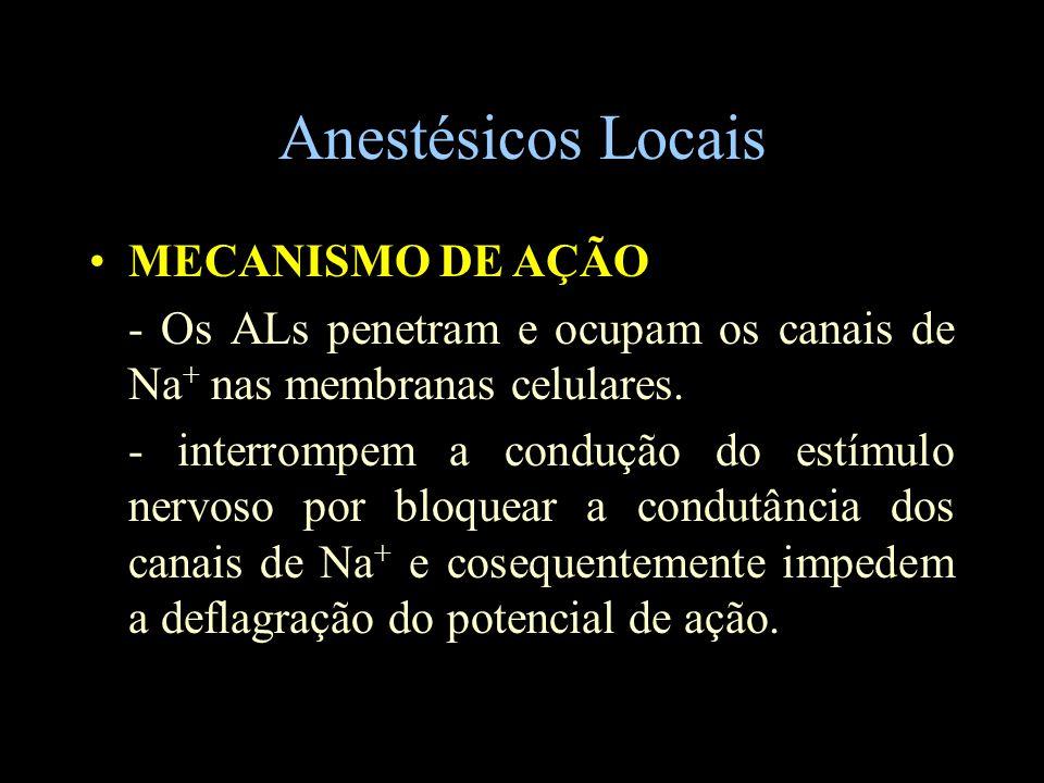Anestésicos Locais MECANISMO DE AÇÃO - Os ALs penetram e ocupam os canais de Na + nas membranas celulares. - interrompem a condução do estímulo nervos