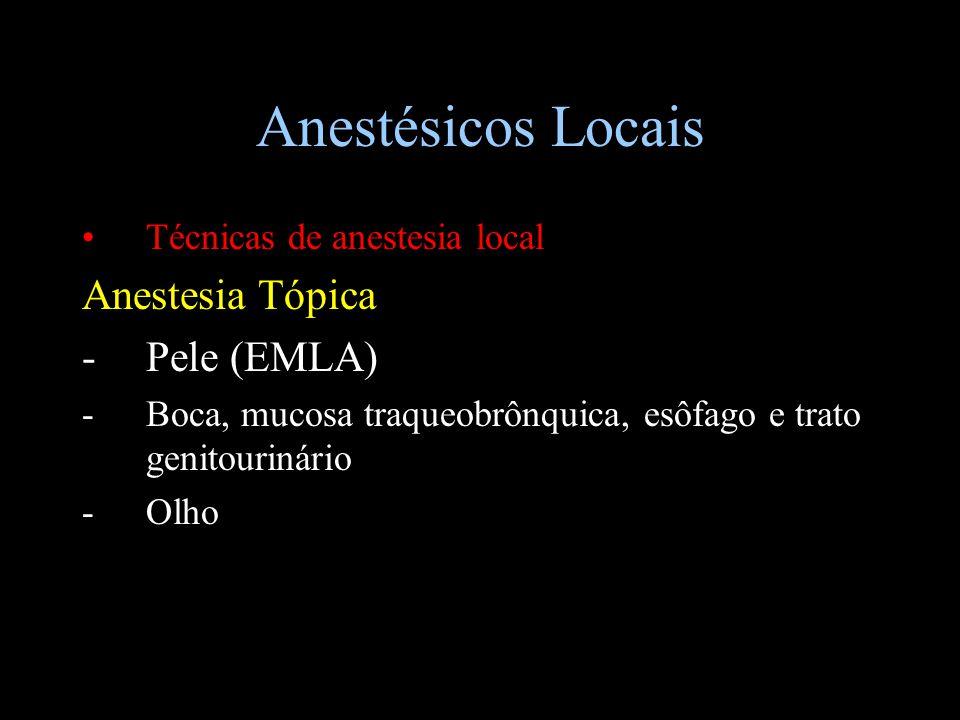 Anestésicos Locais Técnicas de anestesia local Anestesia Tópica -Pele (EMLA) -Boca, mucosa traqueobrônquica, esôfago e trato genitourinário -Olho