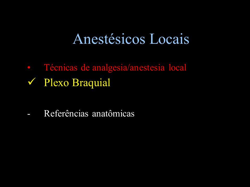 Anestésicos Locais Técnicas de analgesia/anestesia local Plexo Braquial -Referências anatômicas