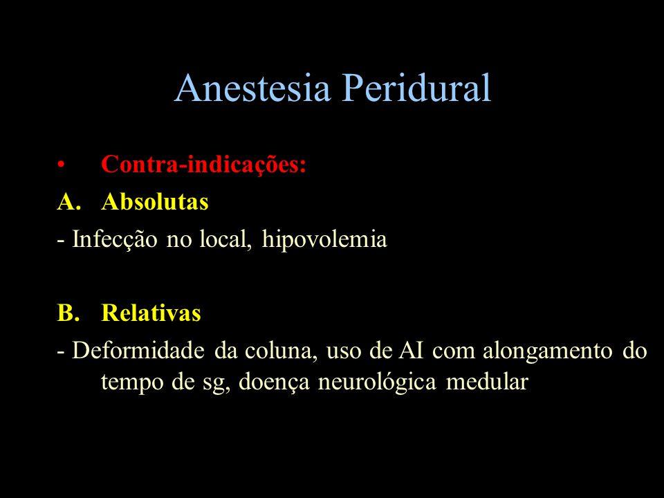 Anestesia Peridural Contra-indicações: A.Absolutas - Infecção no local, hipovolemia B.Relativas - Deformidade da coluna, uso de AI com alongamento do