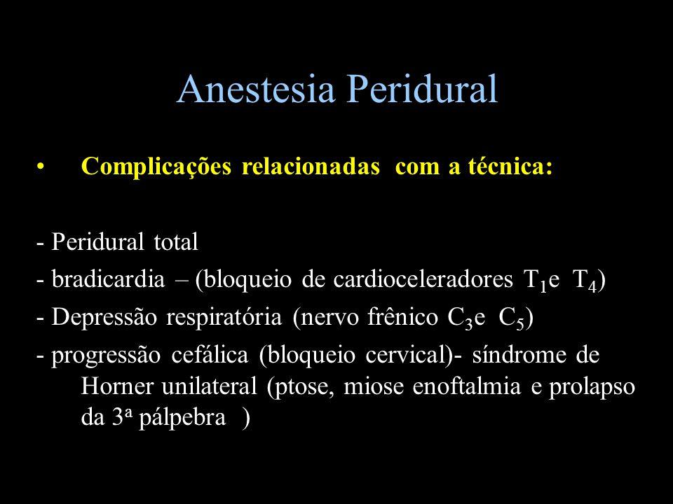 Anestesia Peridural Complicações relacionadas com a técnica: - Peridural total - bradicardia – (bloqueio de cardioceleradores T 1 e T 4 ) - Depressão
