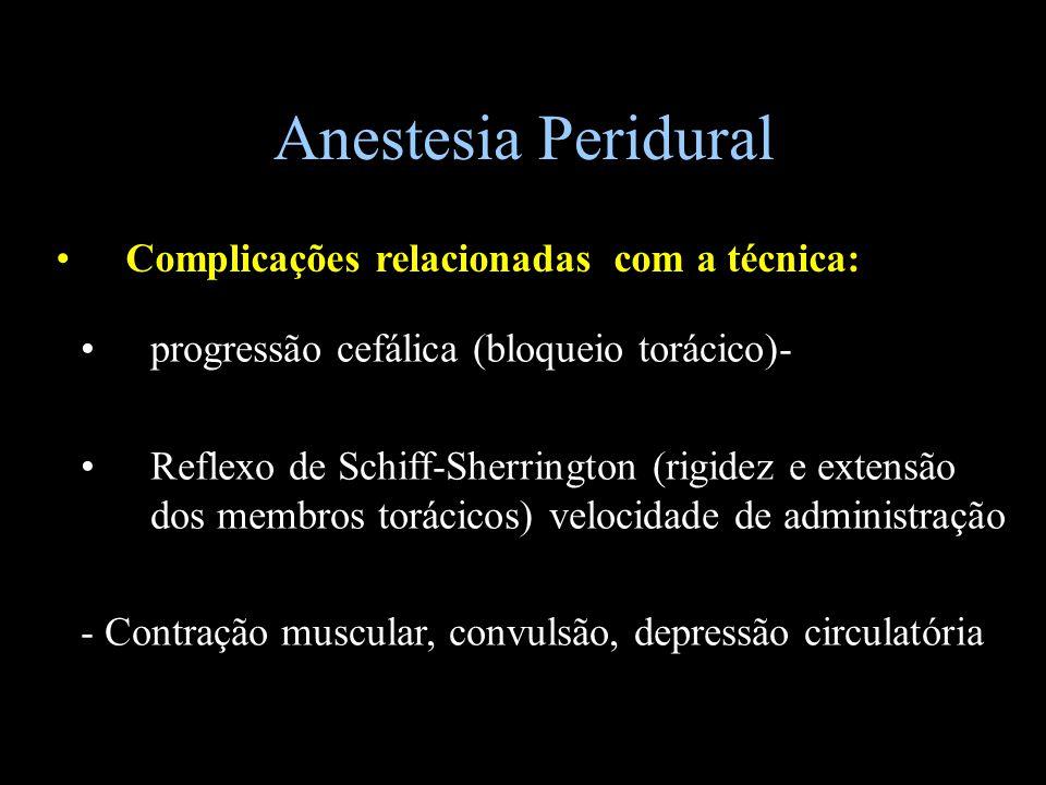 Anestesia Peridural Complicações relacionadas com a técnica: progressão cefálica (bloqueio torácico)- Reflexo de Schiff-Sherrington (rigidez e extensã