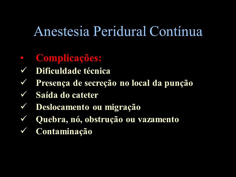 Anestesia Peridural Contínua Complicações: Dificuldade técnica Presença de secreção no local da punção Saída do cateter Deslocamento ou migração Quebr