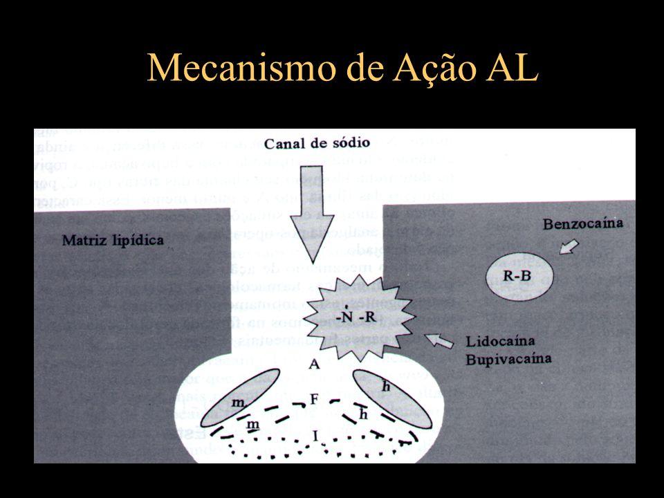 Anestésicos Locais Classificação e função das fibras nervosas - Fibras do tipo A (mielinizadas) : motora : motora, tato : fibras musculares : dor, temperatura