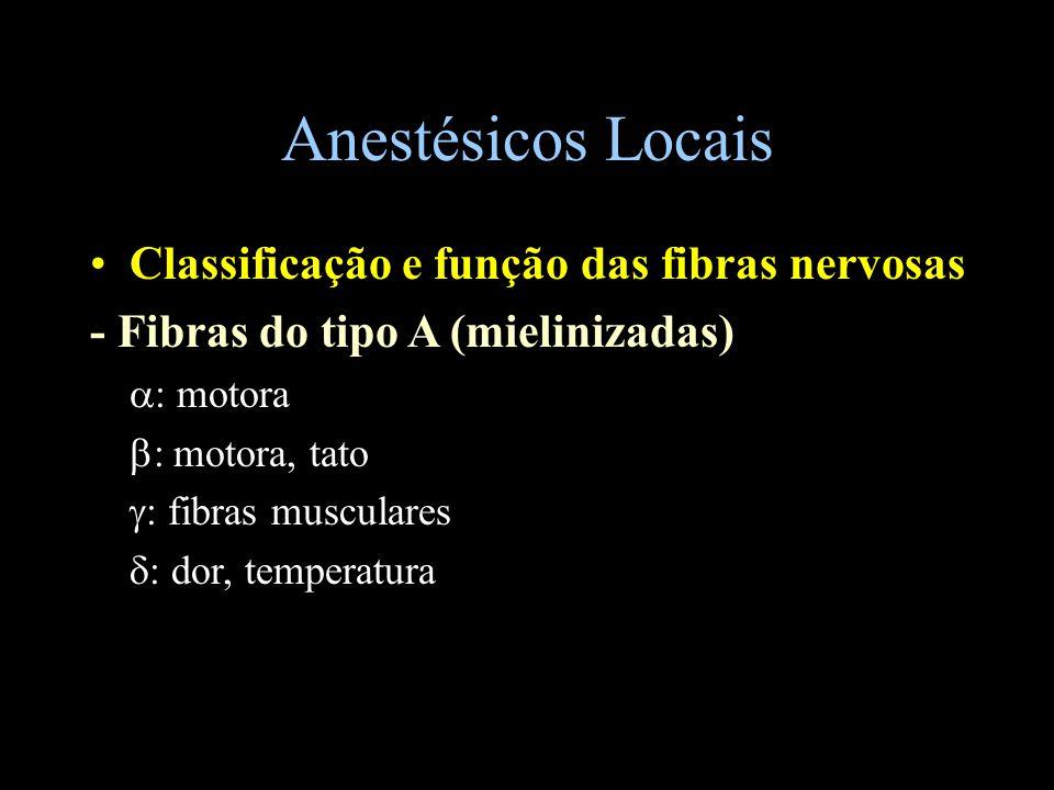 Anestésicos Locais Classificação e função das fibras nervosas - Fibras do tipo B (mielinizadas) fibras simpáticas pré-ganglionares - Fibras do tipo C (amielinizadas) dor e temperatura.