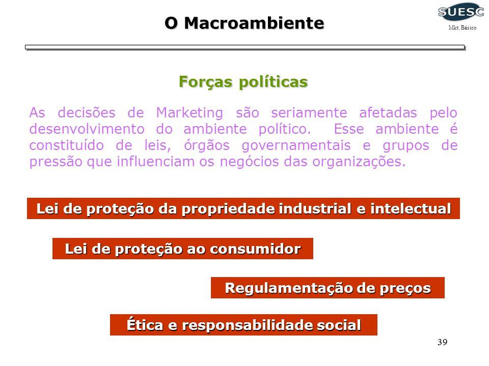 39 O Macroambiente Forças políticas As decisões de Marketing são seriamente afetadas pelo desenvolvimento do ambiente político. Esse ambiente é consti