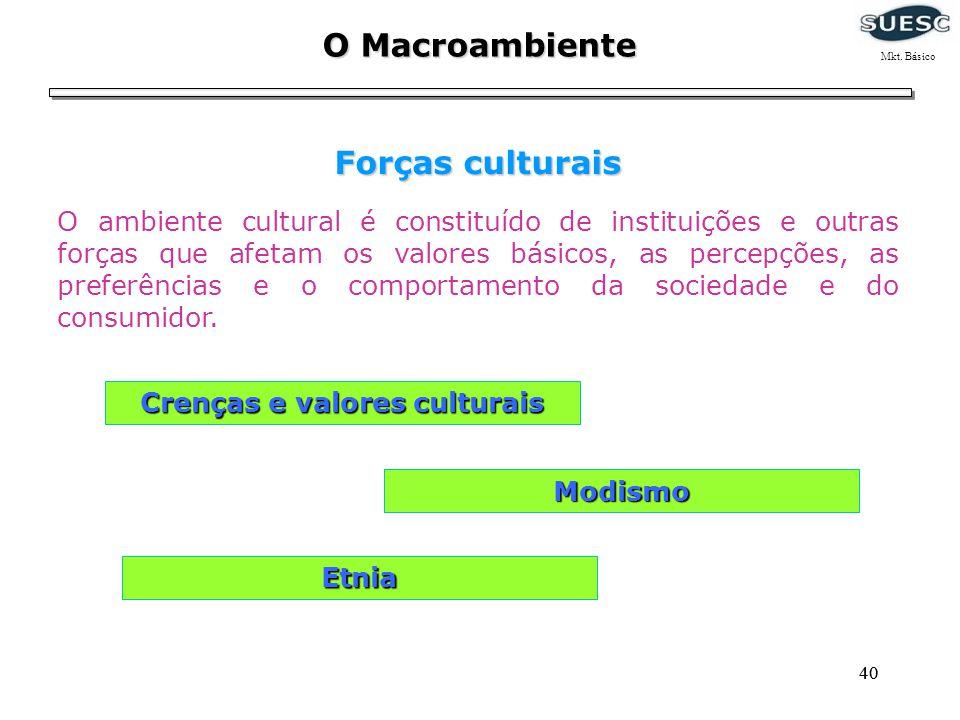 40 O Macroambiente Forças culturais O ambiente cultural é constituído de instituições e outras forças que afetam os valores básicos, as percepções, as
