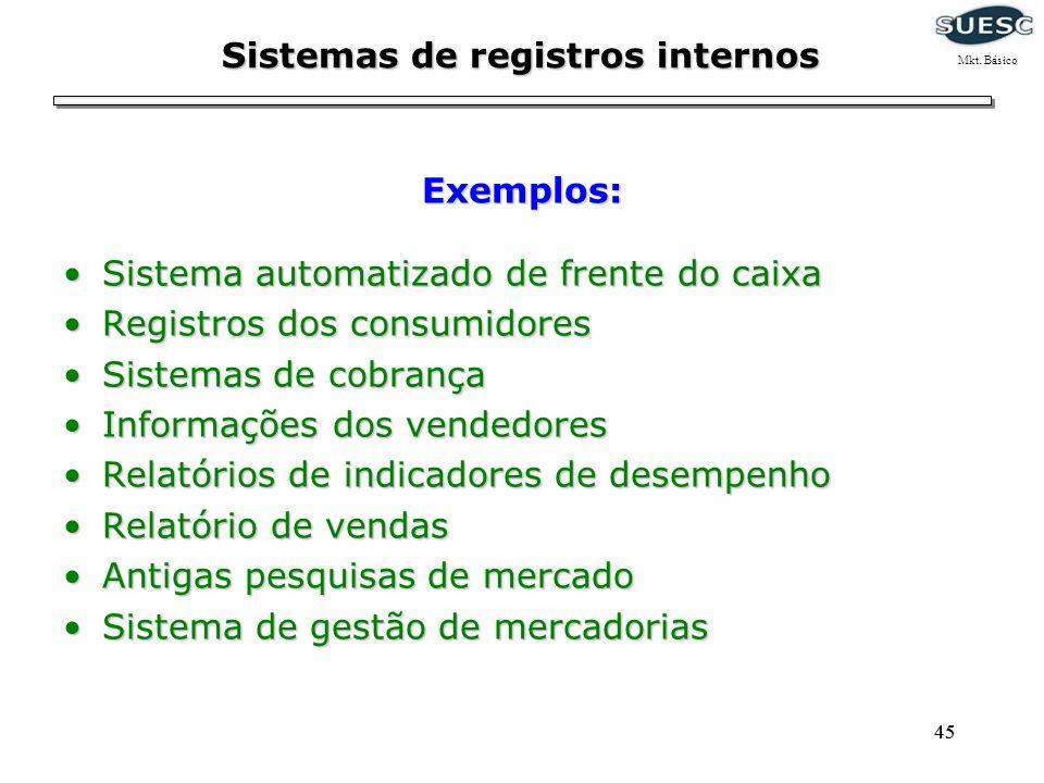 45 Sistemas de registros internos Sistema automatizado de frente do caixaSistema automatizado de frente do caixa Registros dos consumidoresRegistros d